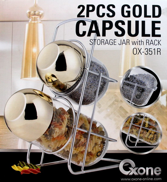 OX-351R 2Pcs Gold Capsule Storage Jar Oxone with Rack