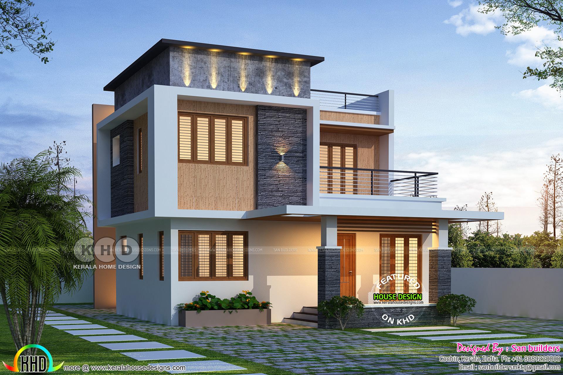 1795 sq-ft beautiful 4 bedroom flat roof home plan ...