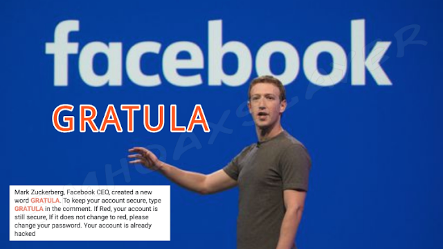 Facebook GRATULA Meaning in English - Hoax