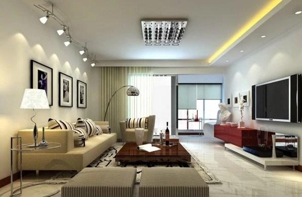 desain plafon ruang tamu mungil dengan penataan cahaya