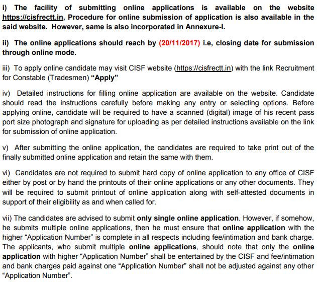 CISF Constable Tradesman Recruitment