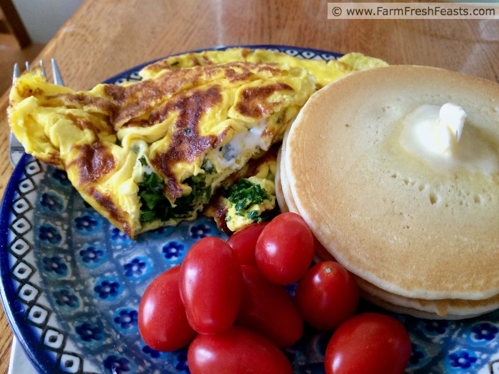 Garlic Scape and Goat Cheese Omelette