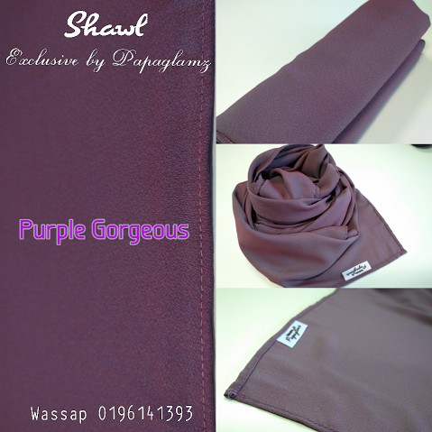 shawl labuh warna purple elegance silver, shawl by papaglamz, shawl warna purple gorgeous,
