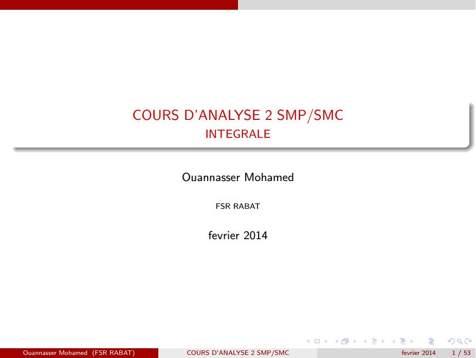 cours Les Intégrales smpc s2