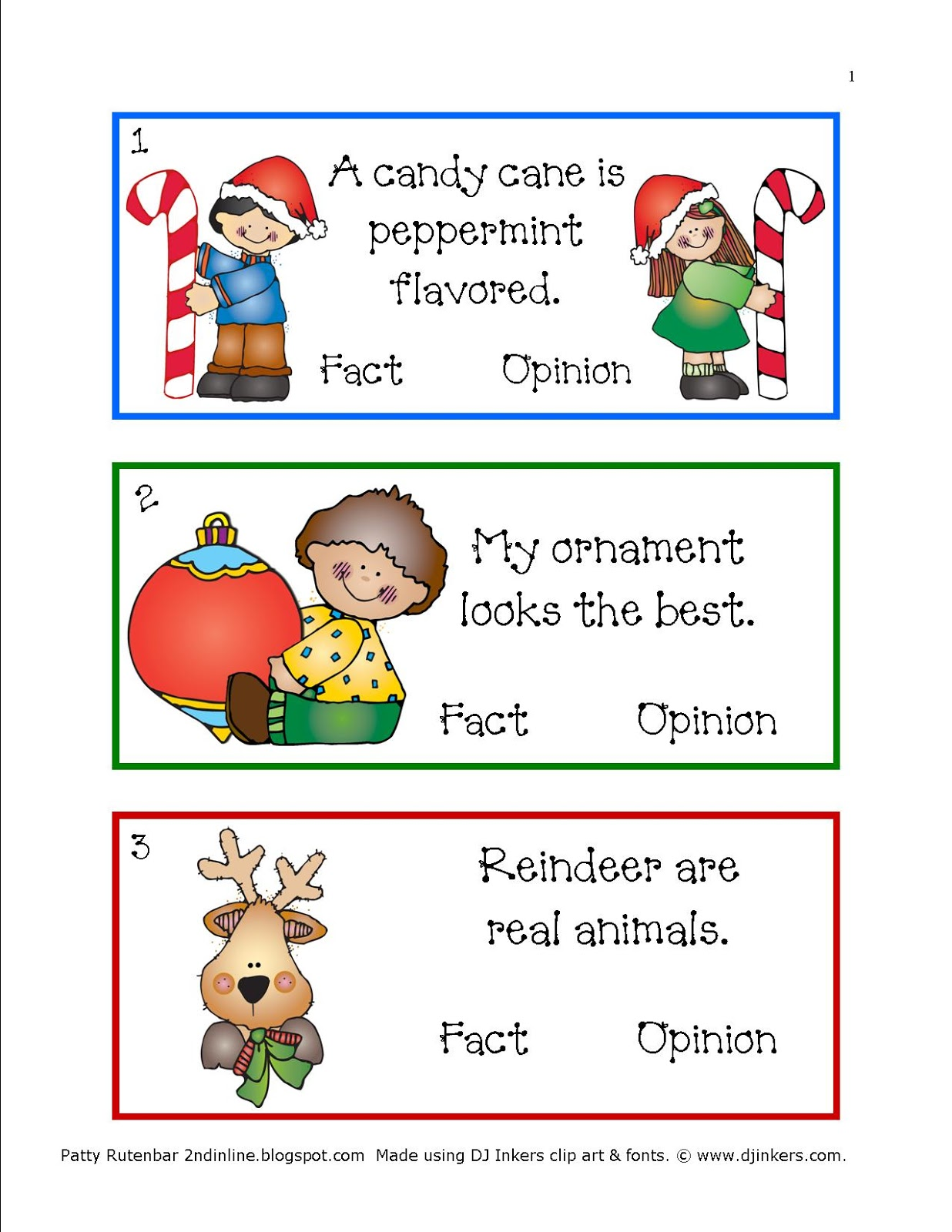 2nd in Line Christmas Whisperings Fact and Opinion – Fact and Opinion Worksheets 2nd Grade