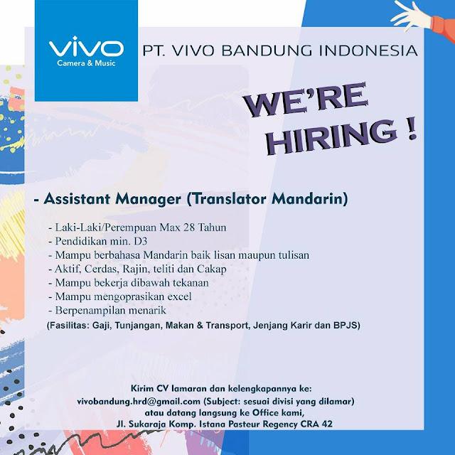 Loker Assistant Manager (Translator Mandarin) PT. VIVO Bandung