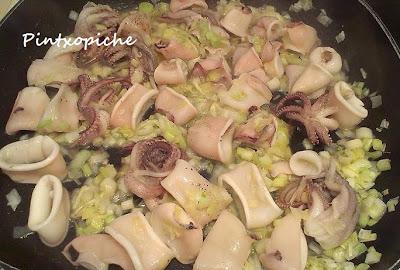 arroz, calamar, sin gluten, chipirones, jengibre