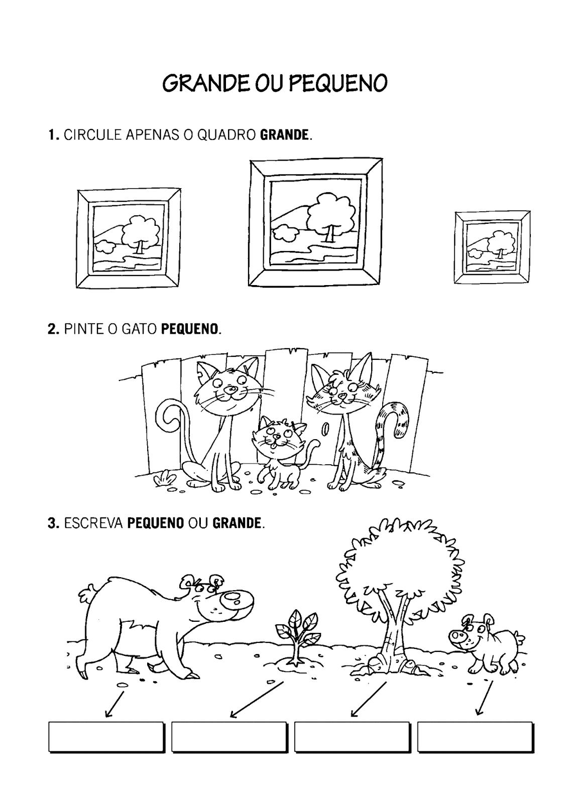 Atividade com tamanho Grande ou Pequeno - para Imprimir