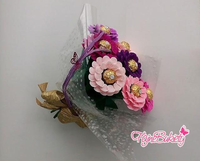 Bukiet kwiatów z Ferrero Rocher