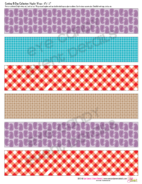 napkin wraps for the cowboy birthday party, gingham print, bandana print