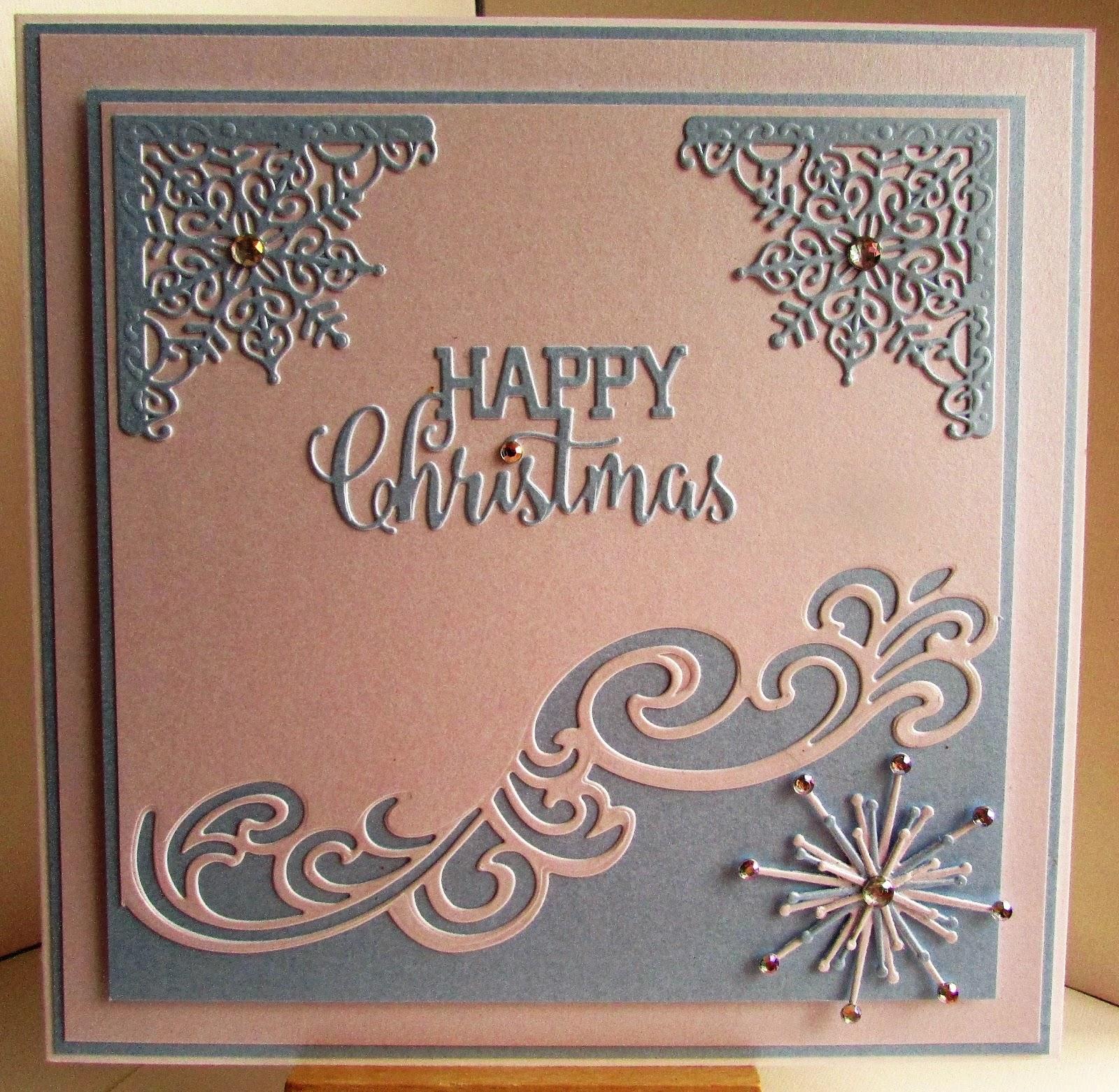 Lizzies craft space: Die Cut Christmas card - Blue