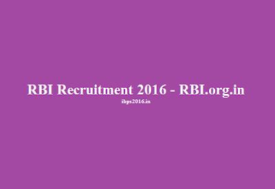 Recruitment RBI India 2016