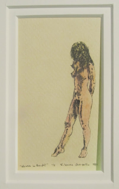 """Woman in Deep Thought""  (Robin Thinking About Leaving Him)  Hand-colored stone lithograph, edition of 5  c. 1981 by F. Lennox Campello  4.5x2.5 inches framed to 7x5 inches"