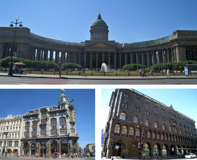 Nuestra Sra. de Kazan (arriba), y edificios Singer (abajo, izda.) y Aeroflot