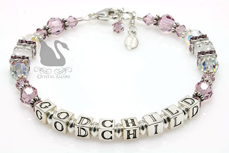 Light Purple Lilac Crystal Godchild Bracelet (B200-GC)