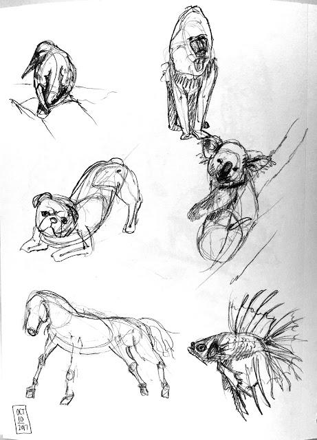 Daily Art 10-10-17 gesture studies of animals
