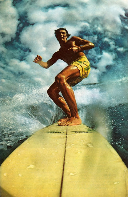 Vintage photo surfer taken from tip of board. Oil Upon Troubled Waters. marchmatron.com