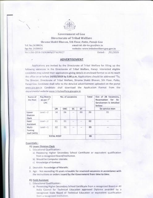 recruitment of various post in Directorate of Tribal Welfare, Panaji(28 posts)
