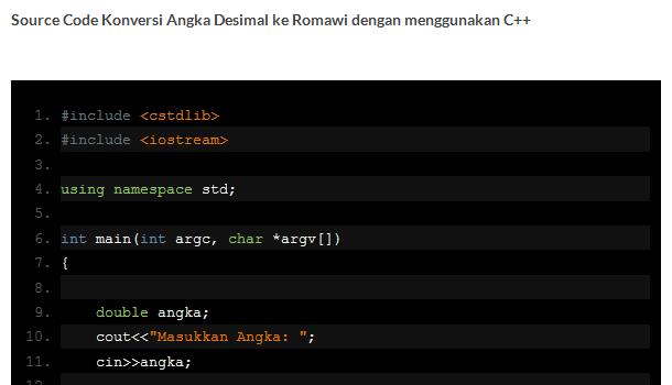 Konversi Angka Desimal ke Romawi C++