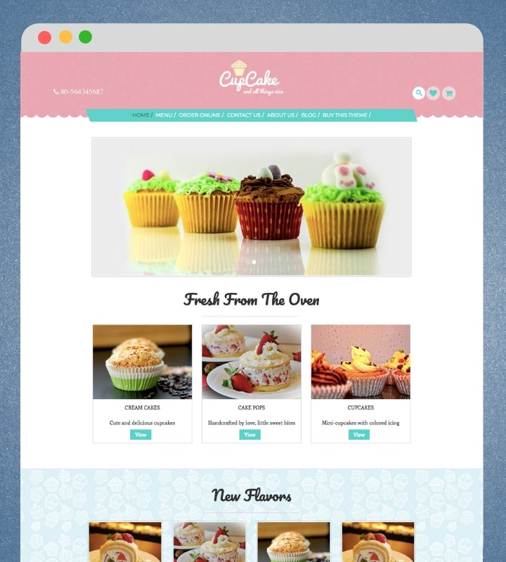 CupCake (Food / Bakery WordPress Theme for Blogs)