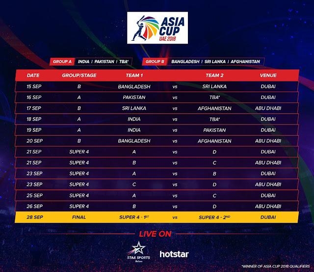 Asia Cup 2018 | UAE | Schedule