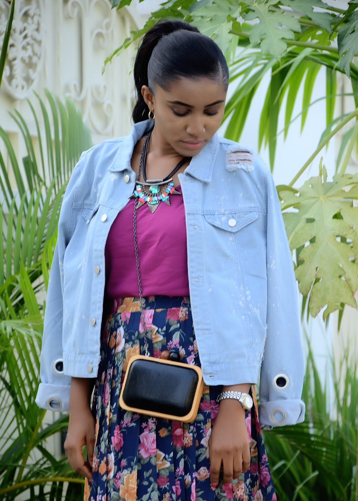 denim jacket and pleated floral skirt - dafashionfreak