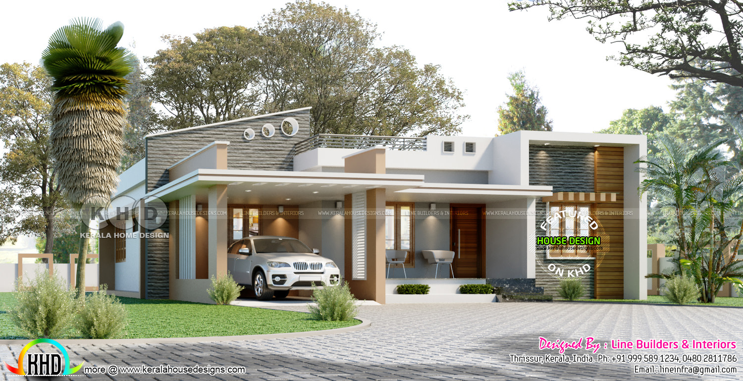 1450 Sq Ft 3 Bedroom Contemporary Home Kerala Home Design And Floor Plans 8000 Houses