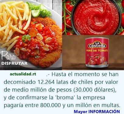 Una broma podría costarle un millón de pesos a una envasadora mexicana de chiles