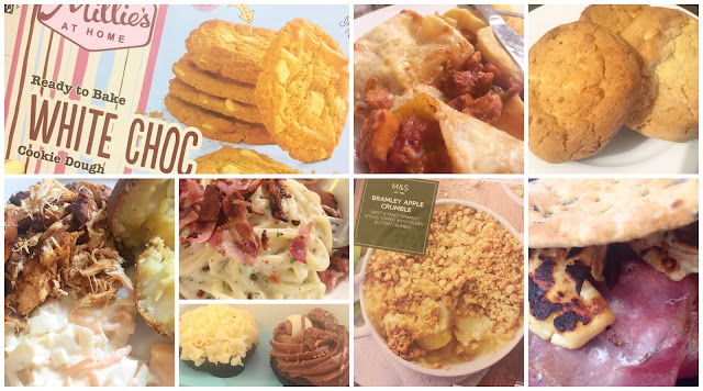 Millies Cookies, Nandos Chicken, Apple Crumble, Bacon flatbreads, Spaghetti Carbonara, Lolas Cupcakes, Chicken Lasagne