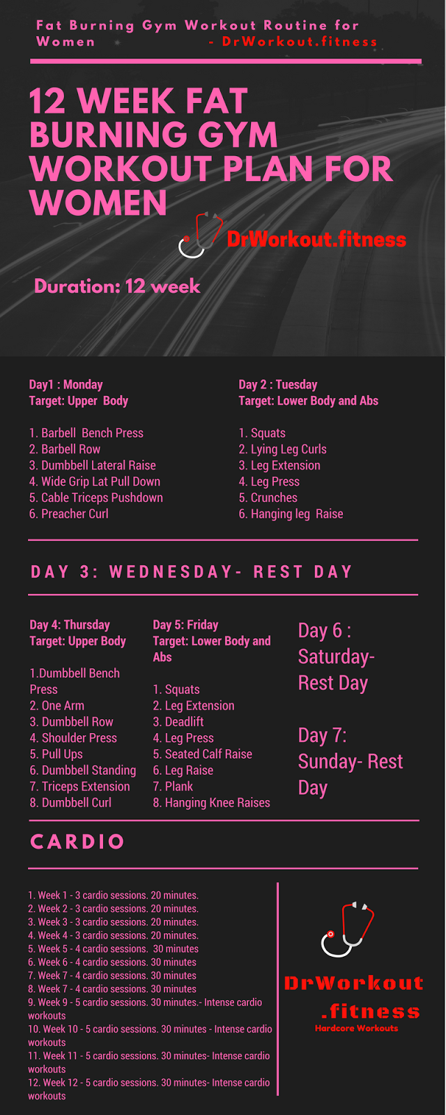 Fat Loss Gym Workout Plan for Women - 12 Week Exercise Program