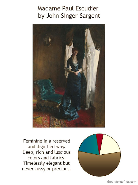 Madame Paul Escudier by John Singer Sargent with style guidelines and color palette