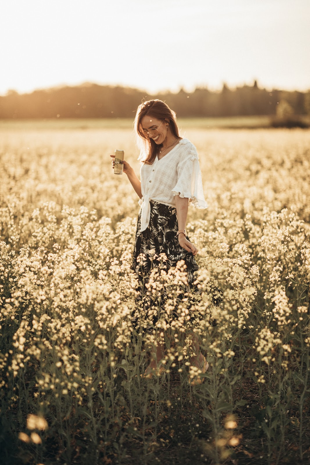 girl yellow flower field photography