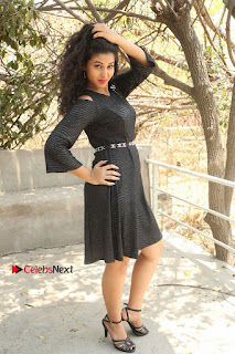 Pavani Latest Pictures in Black Short Dress at Smile Pictures Production No 1 Movie Opening