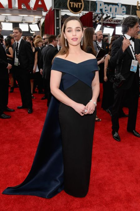 Emilia Clarke in a black Donna Karan Atelier dress at the SAG Awards 2015