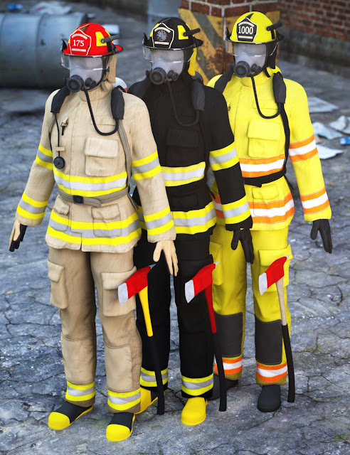 Firefighter Uniform for Genesis 3 Male and Genesis 2 Male