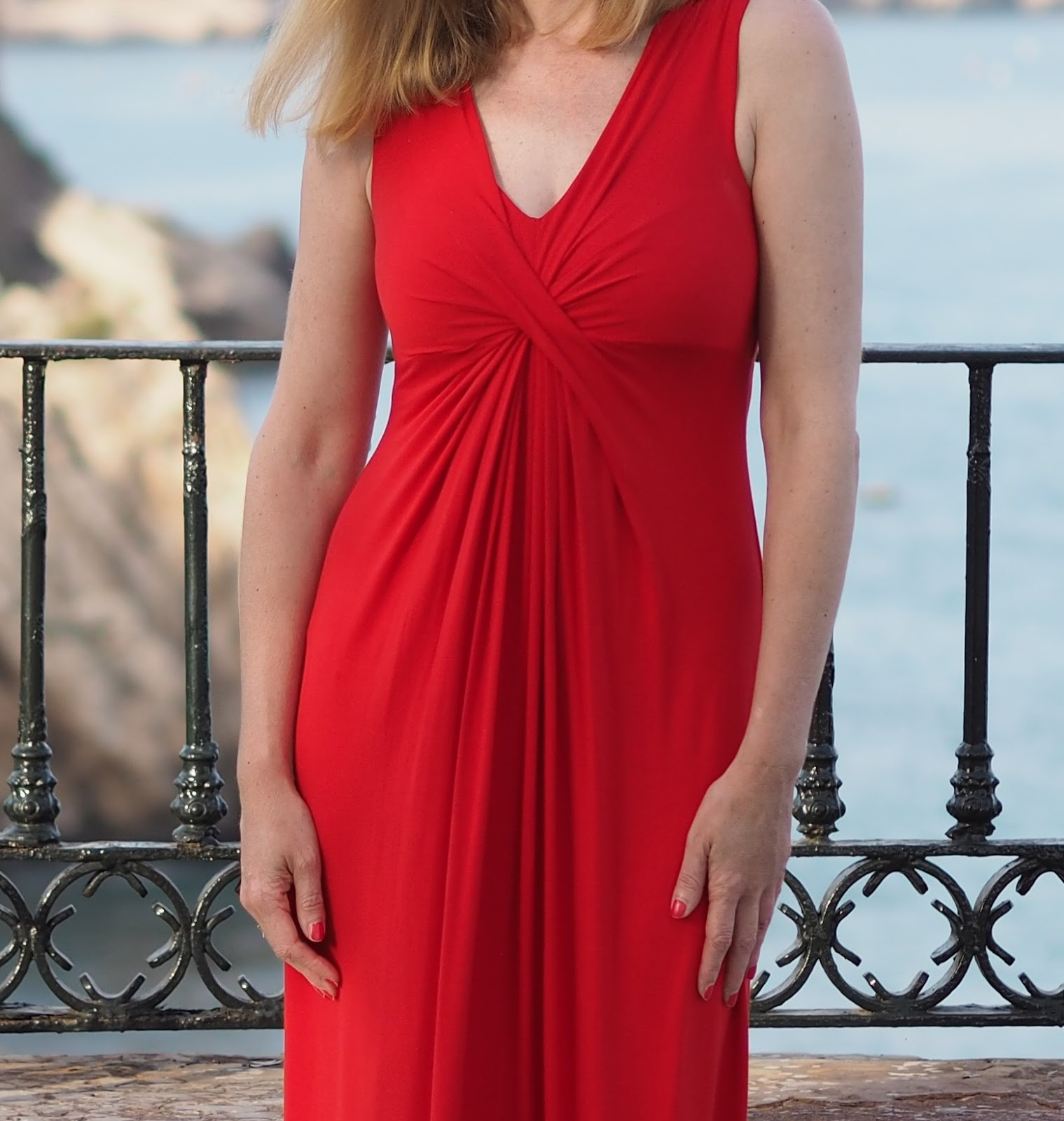 Red jersey maxi dress, Nerja