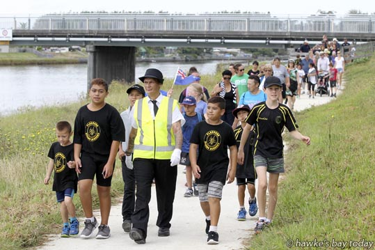 Walking along the pathway along the Clive River, Clive - About 70 people walked from Waipatu, Hastings, in a Waitangi Day hikoi to Waitangi Reserve, Awatoto, Napier, where they were greeted by members of the Hawke's Bay Genealogy Society. photograph