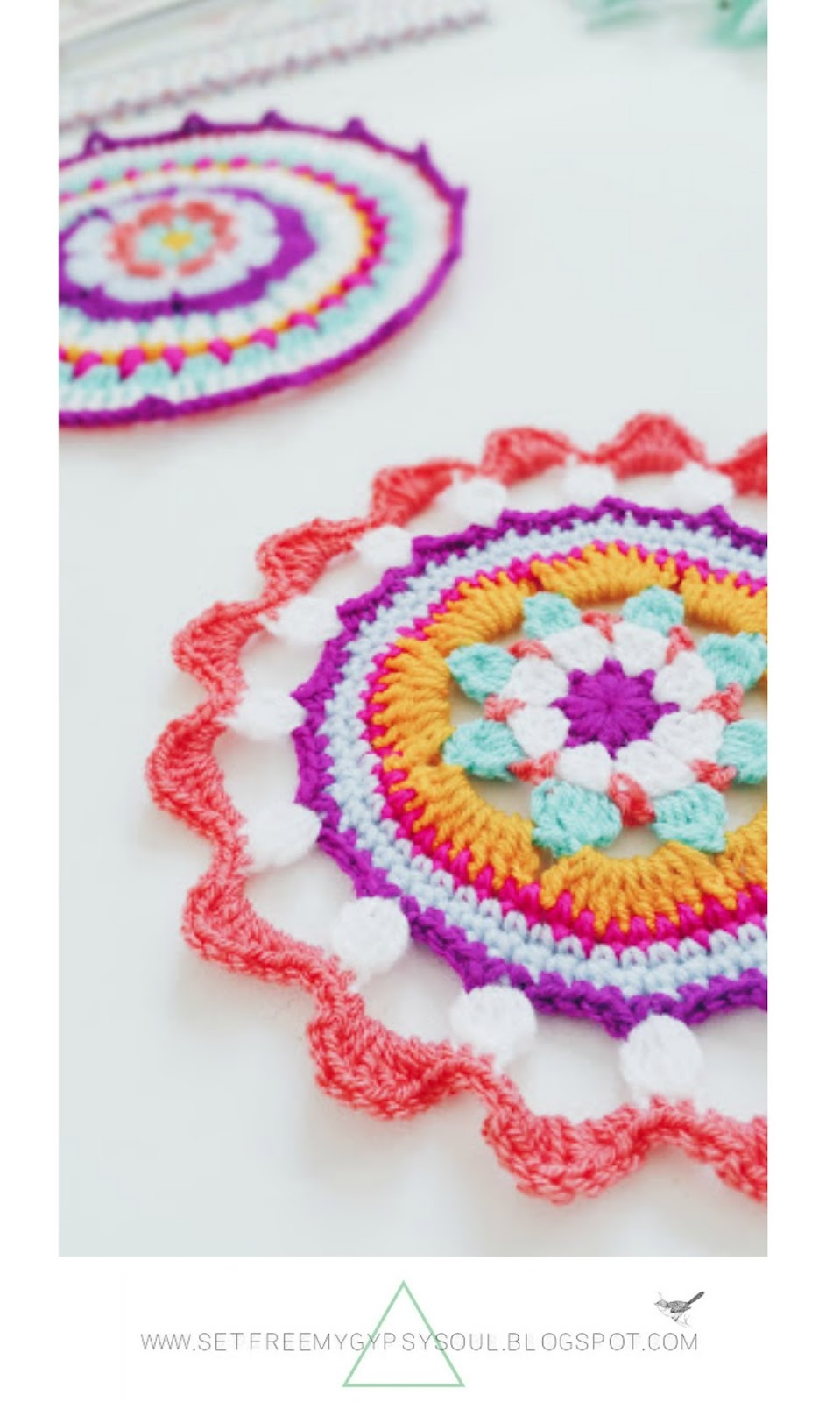 free crochet mandala bohemian home pattern