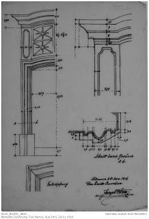 Zeichnungen von Türen in Namur 1916, Rue Emile Cuvelier, Nachlass Joseph Stoll Bensheim, Stoll-Berberich 2016