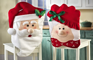 Collections Etc - Mr & Mrs Santa Claus Christmas Kitchen Chair Covers