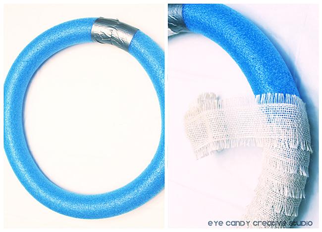 wrap burlap ribbon around pool noodle, burlap ribbon for spring wreath