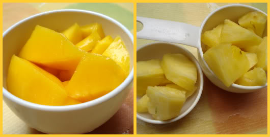 Pineapple - mango smoothie by Laka kuharica: mix all the ingredients in a blender
