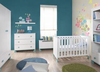 habitación bebé paredes azul