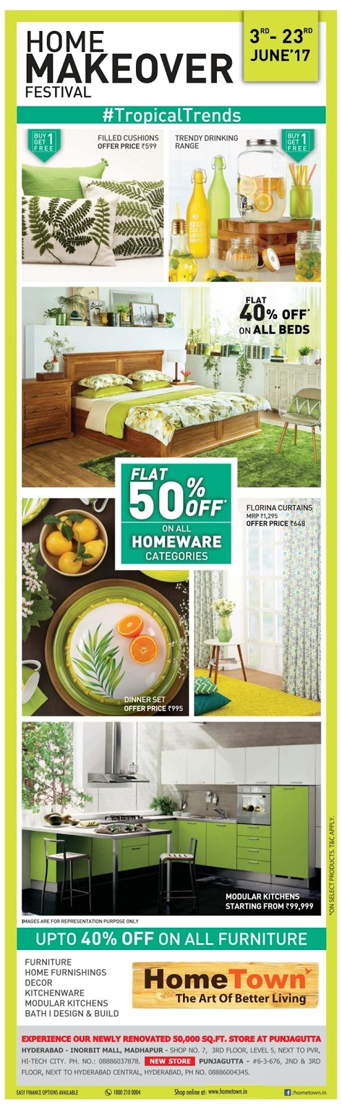 Flat 50% off in HomeTown furniture | June 2017 discount offers