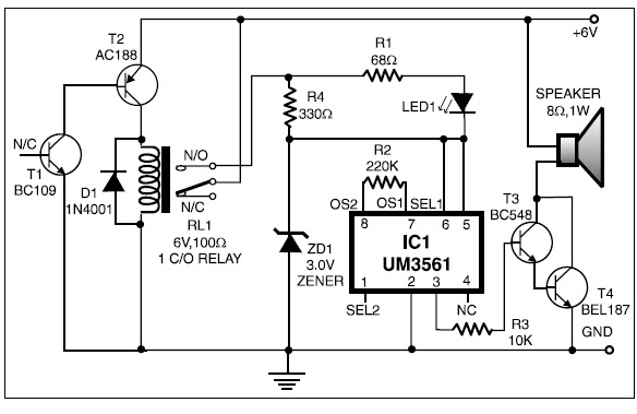electronic siren circuit with two transistor