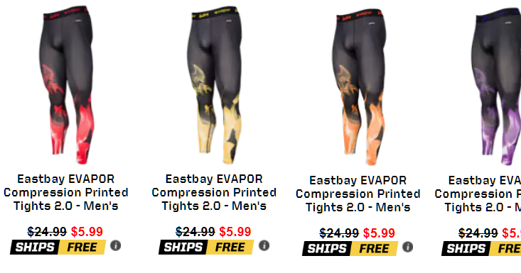 59685ee424 Eastbay Men's Evapor Compression Fire Print 2.0 Tights $5.99 + Free  Shipping. Size Small or Large