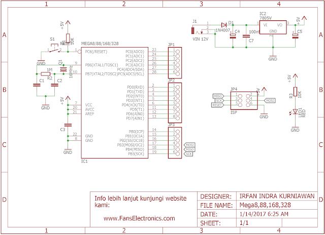 Skema minimum sistem ATMEGA8/88/168/326 DIP