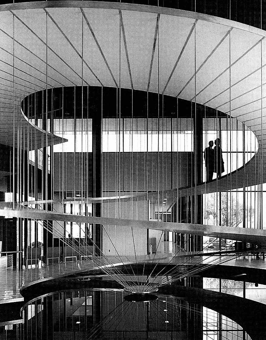 a suspended spiral lobby ramp photograph