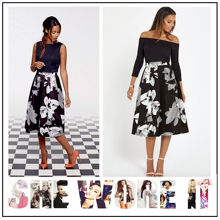 All Over Print, Black, Celebrity Fashion, Celebrity Style, Full Midi Skirt, Modern Geometric Floral Print, Monochrome, Rochelle Humes, The Saturday's, very.com, White,