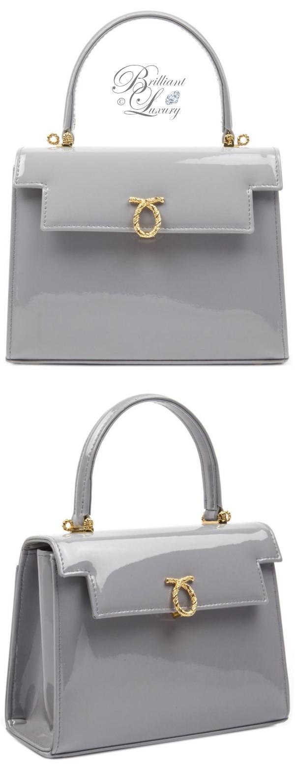 Brilliant Luxury ♦ Launer Judi light grey patent leather handbag